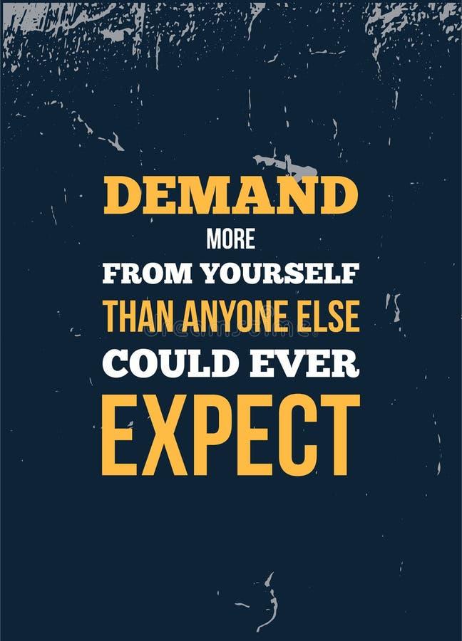 Vektorzitat Nachfrage von selbst Motivwandkunst auf gelbem Hintergrund Inspirierend Plakat, Erfolgskonzept lizenzfreie abbildung