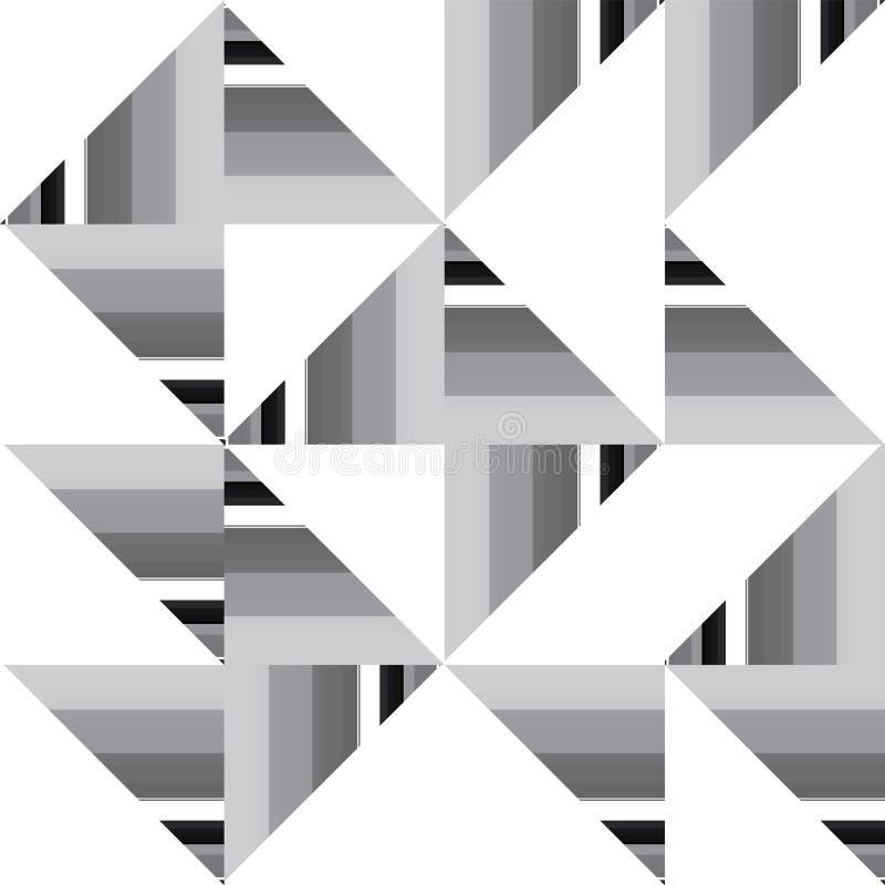 Vektorzusammenfassung Schwarzweiss--geometrische nahtlose Musterwiederholung Truchet stock abbildung