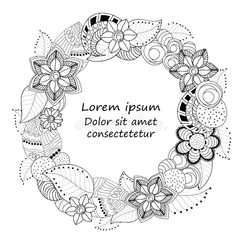 Vektorzusammenfassungs-Gekritzelblume und Wellenmuster Kardieren Sie Schablone lizenzfreie stockfotografie