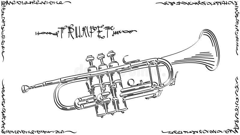 Vektorzusammenfassungs-Illustrationszeichnung der Trompete vektor abbildung