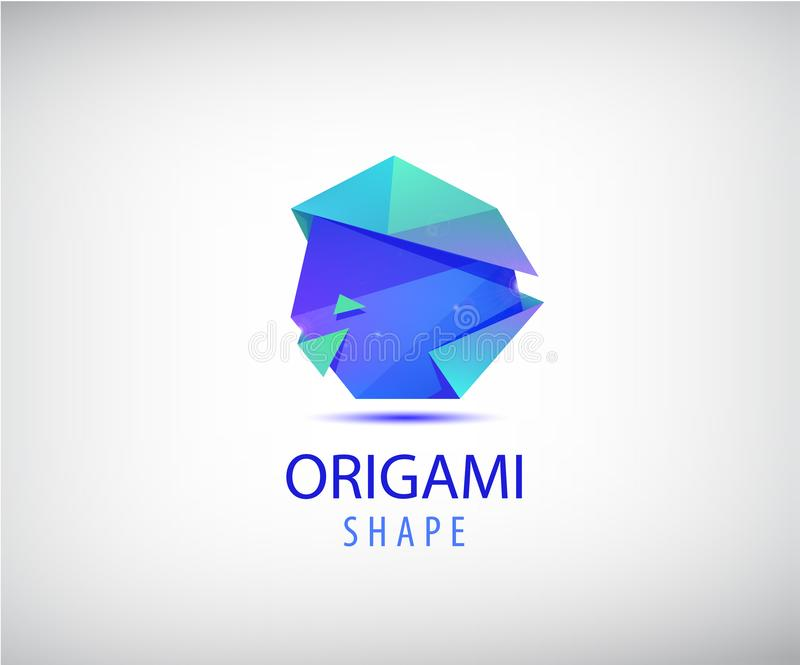 Vektorzusammenfassungs-Origamilogo Form der Facette 3d, dreieckiges Firmenzeichen futuristisch lizenzfreie abbildung