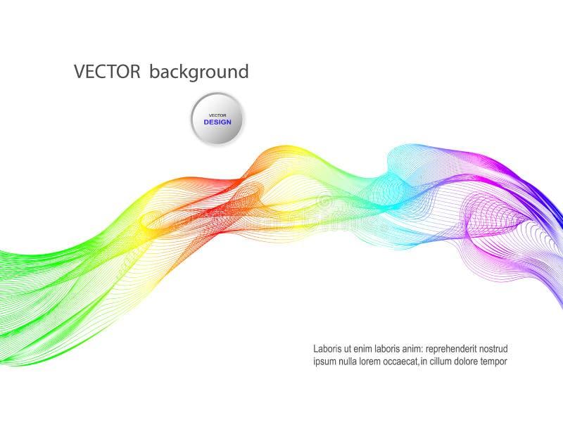 Vektorzusammenfassungshintergrund für Website, Visitenkarte, Flieger Glatte gewellte Steigungs-krummlinige Linien auf einem Weiß stock abbildung
