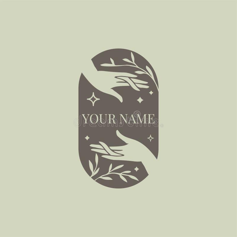 Vektorzusammenfassungslogoentwurfs-Schablonenhände mit Blättern und Sternen - Symbol für Naturkosmetik, Schmuck, Schönheit lizenzfreie abbildung