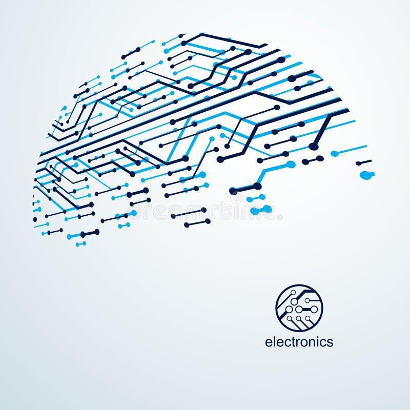 Vektorzusammenfassungstechnologie mit Leiterplatte Hightech- digitaler Entwurf des elektronischen Ger?ts Technologiemikrochip stock abbildung