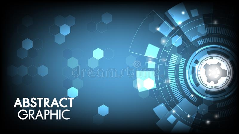 Vektorzusammenfassungstechnologieinnovations-Leiterplatte und Kommunikationskonzept mit Hexagonen für Technologiehintergrund vektor abbildung