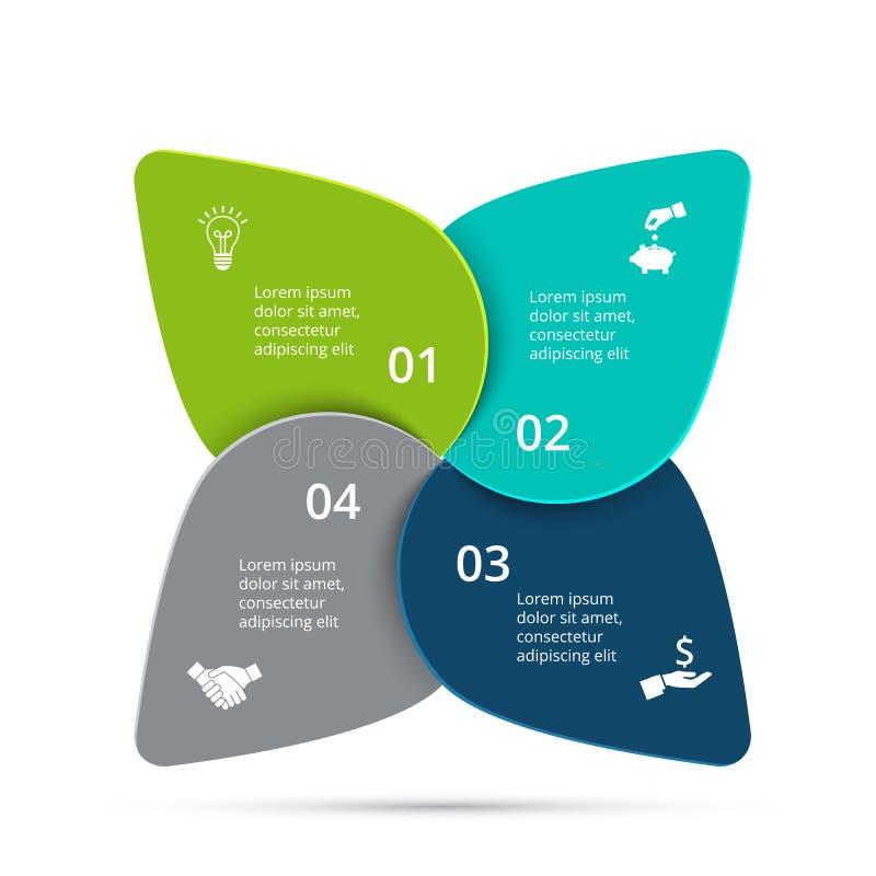 Vektorzyklus infographic Geschäftskonzept mit 4 Wahlen, Teilen, Schritten oder Prozessen vektor abbildung