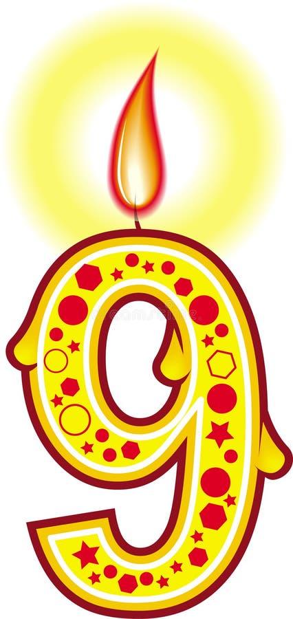 Vela 9 do aniversário ilustração royalty free