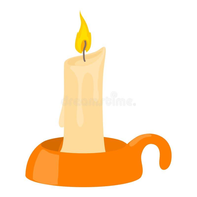Vela ardente no ícone do castiçal, estilo dos desenhos animados ilustração do vetor