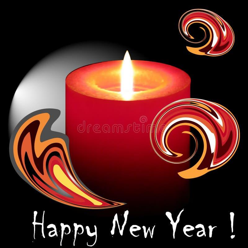 Vela ardiendo del Año Nuevo stock de ilustración