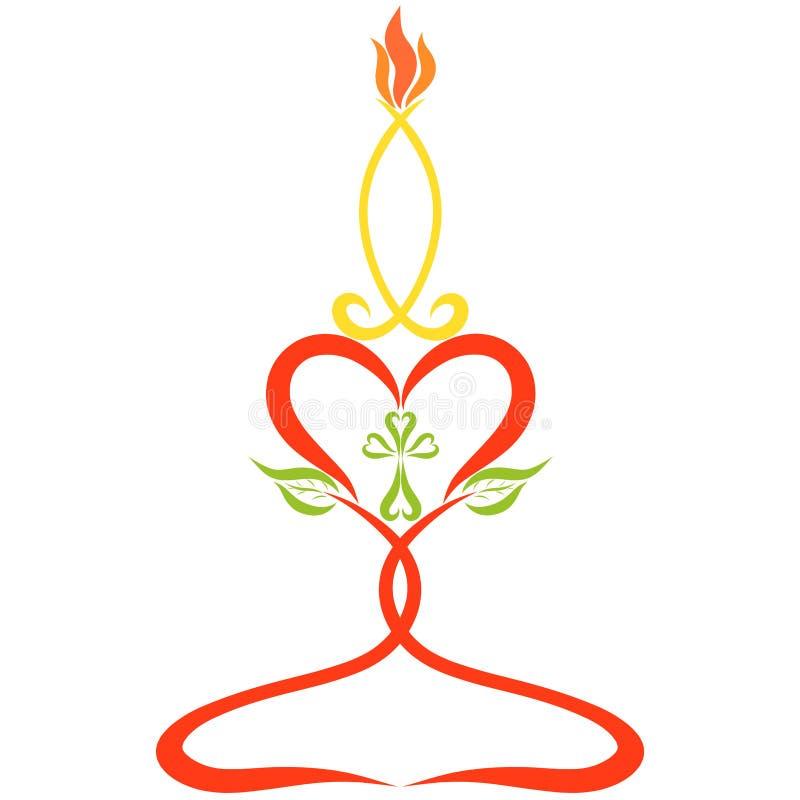 Vela ardiendo, símbolos cristianos, corazones, cruz y pescados ilustración del vector