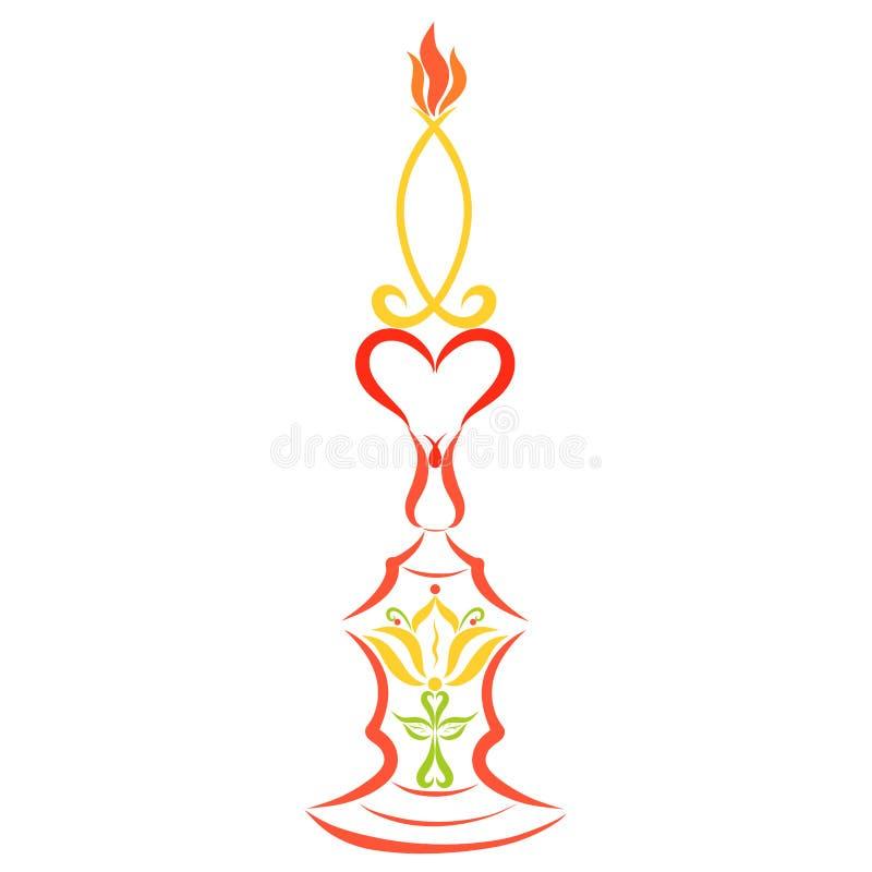 Vela ardiendo, simbolismo cristiano, modelo colorido, decoración libre illustration
