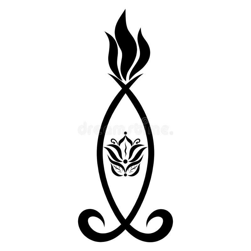 Vela ardiente decorativa con símbolos, modelo negro ilustración del vector