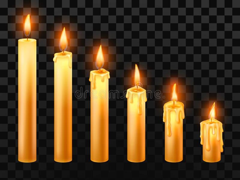 Vela ardiente Velas de la iglesia de la quemadura, fuego de la cera y sistema realista aislado vela de los objetos del vector de  stock de ilustración