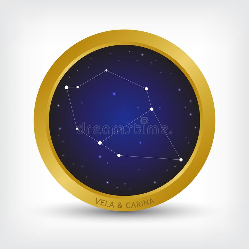 Vela and Carina constellation in golden circle royalty free illustration