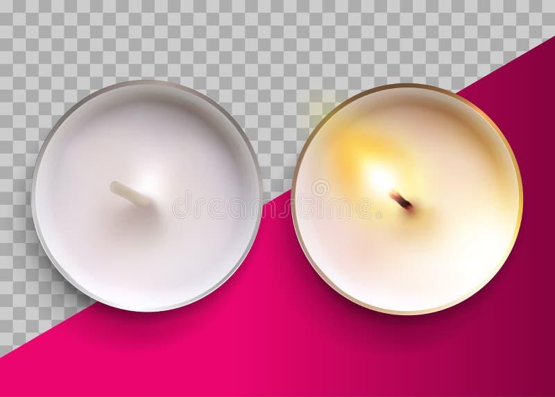 Vela clásica del vector realista en una taza del metal Lit y velas blancas Unlit de Tealight de la cera Visión superior Elemento  stock de ilustración