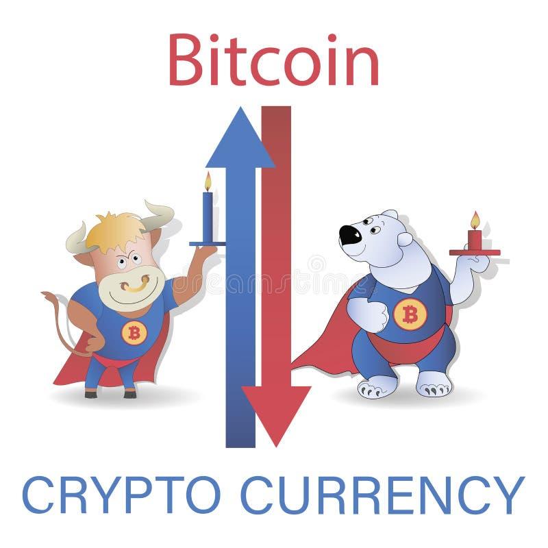 Vela com tendência para a alta e bearish O negócio da divisa estrageira e o mercado Crescimento da vela e a queda do Grupo do vet ilustração stock