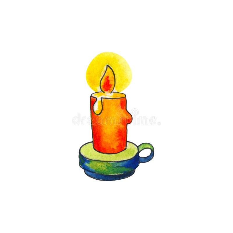 Vela con el fuego por la acuarela en el fondo blanco Vela del aligeramiento en el ejemplo handdrawn de la palmatoria ilustración del vector