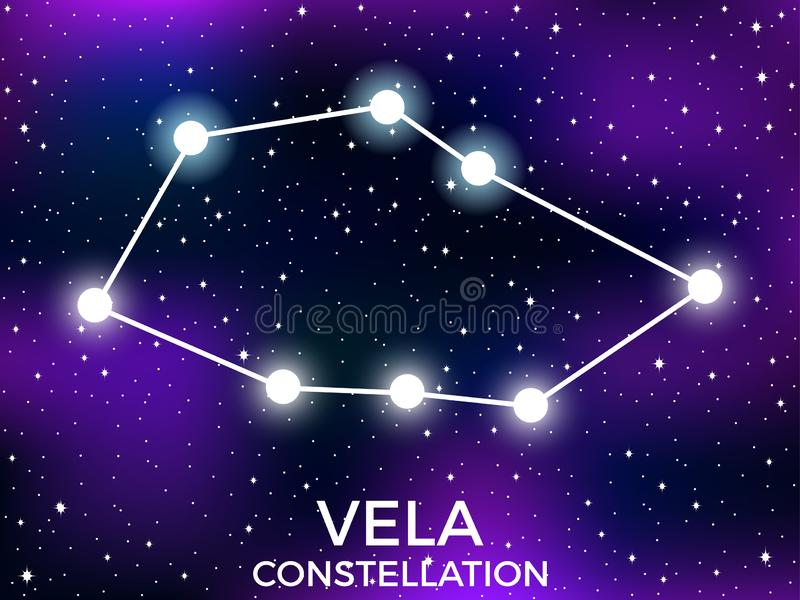 Vela constellation. Starry night sky. Cluster of stars and galaxies. Deep space. Vector. Illustration royalty free illustration