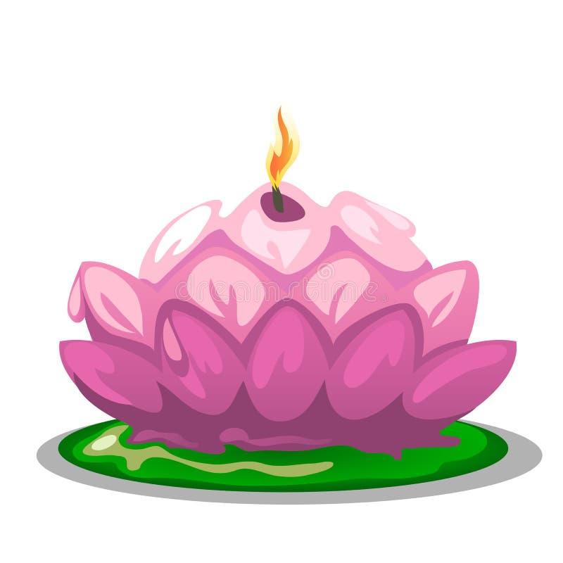 Vela cor-de-rosa na forma de uma flor de Lotus ilustração royalty free