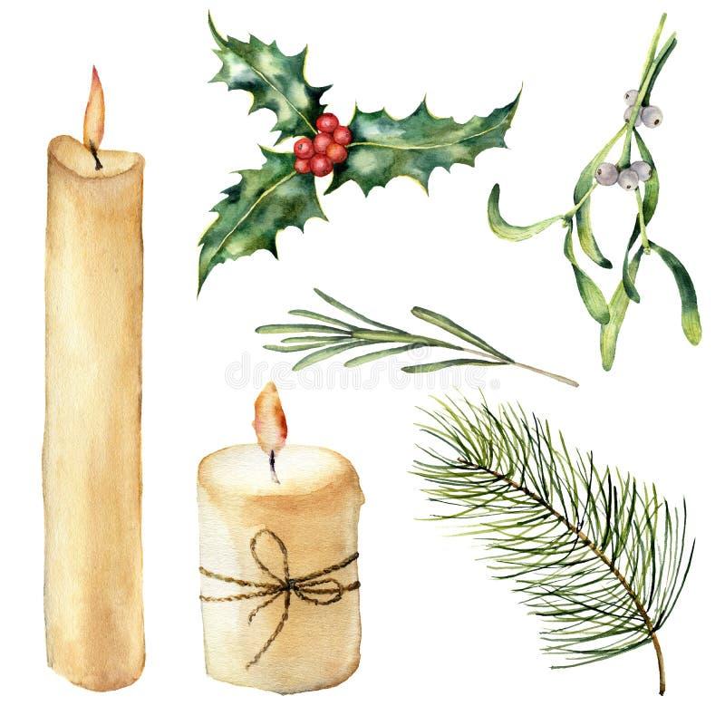 Vela da aquarela com grupo da decoração Vela pintado à mão, azevinho, alecrim do visco, ramo de árvore do Natal isolado sobre ilustração stock