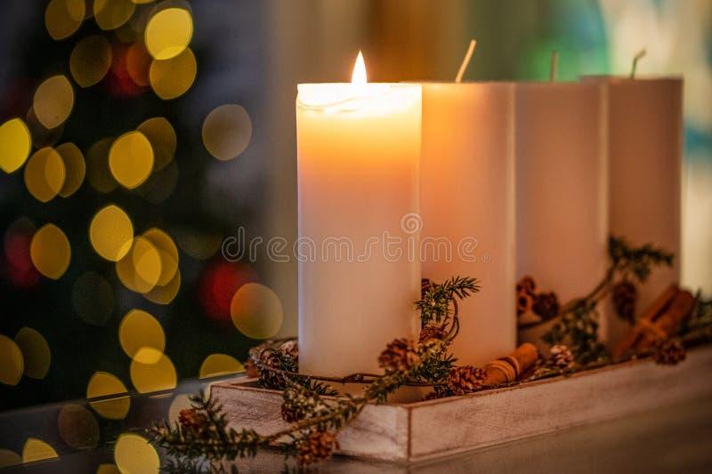 Vela da decoração do Natal para a estação do advento quatro velas de queimadura imagem de stock royalty free