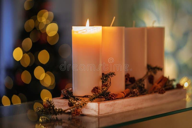 Vela da decoração do Natal para a estação do advento quatro velas de queimadura fotografia de stock