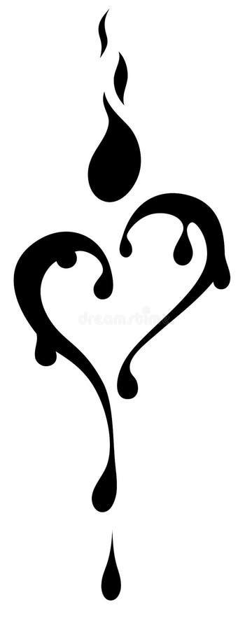 Vela dada forma da tatuagem coração preto e branco tribal ilustração stock