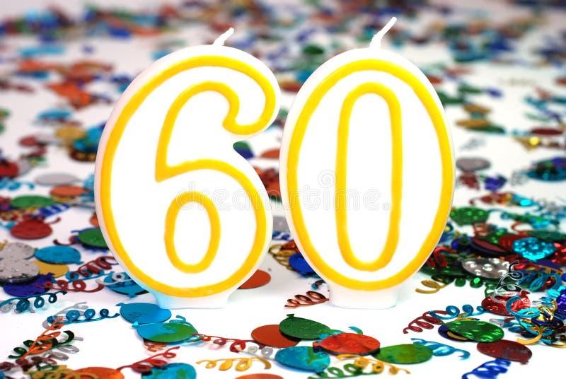 Vela de la celebración - número 60 fotografía de archivo libre de regalías