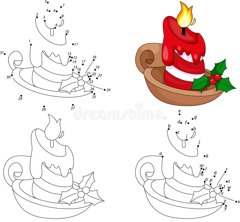 Vela de la historieta de la Navidad Libro de colorear y punto para puntear el juego para ilustración del vector
