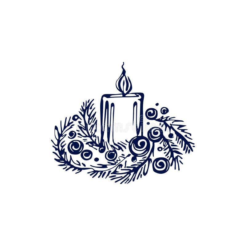 Vela de Natal desenhada à mão isolada sobre fundo branco ilustração royalty free