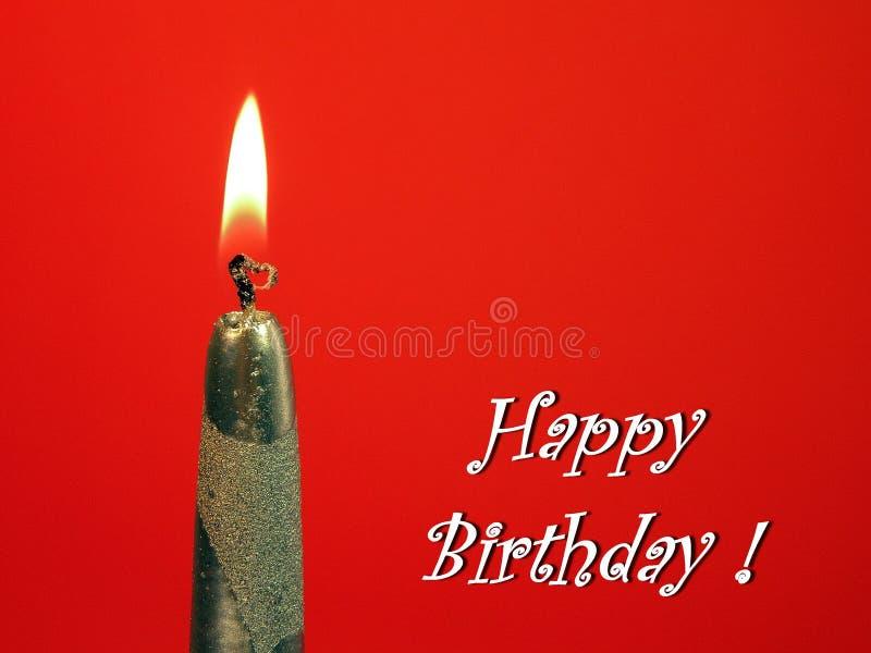 Vela de prata de queimadura - cartão do feliz aniversario imagens de stock