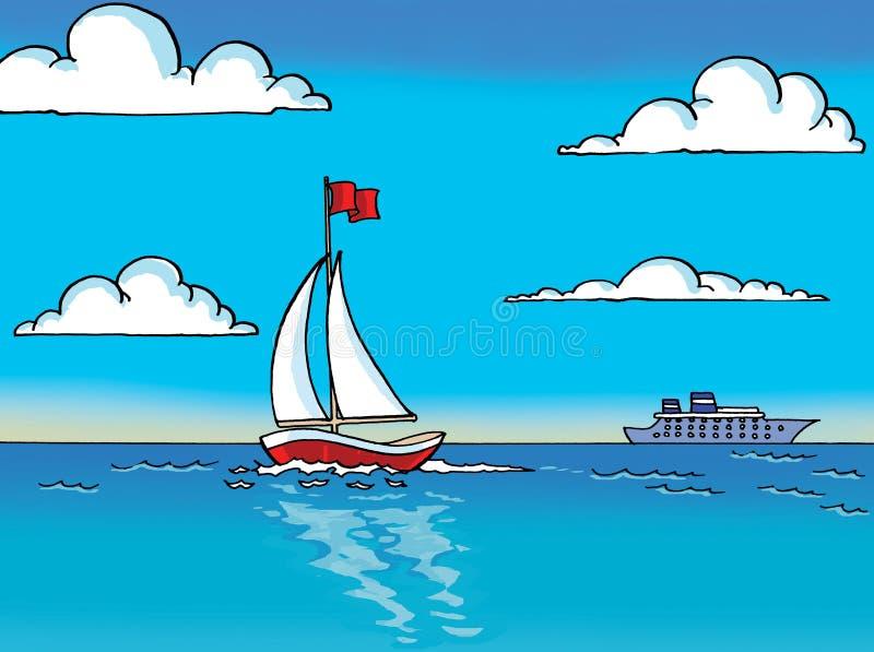 Vela de Sailer en el mar stock de ilustración