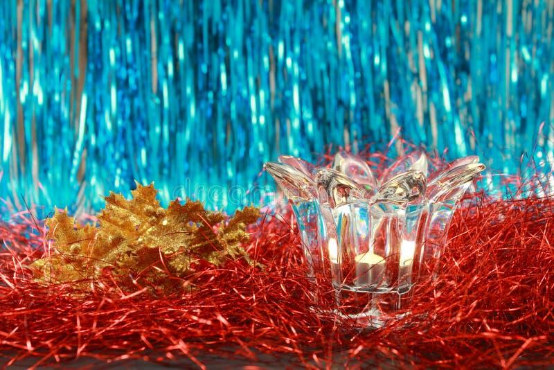 Vela del Lit en una palmatoria de cristal transparente fotografía de archivo libre de regalías