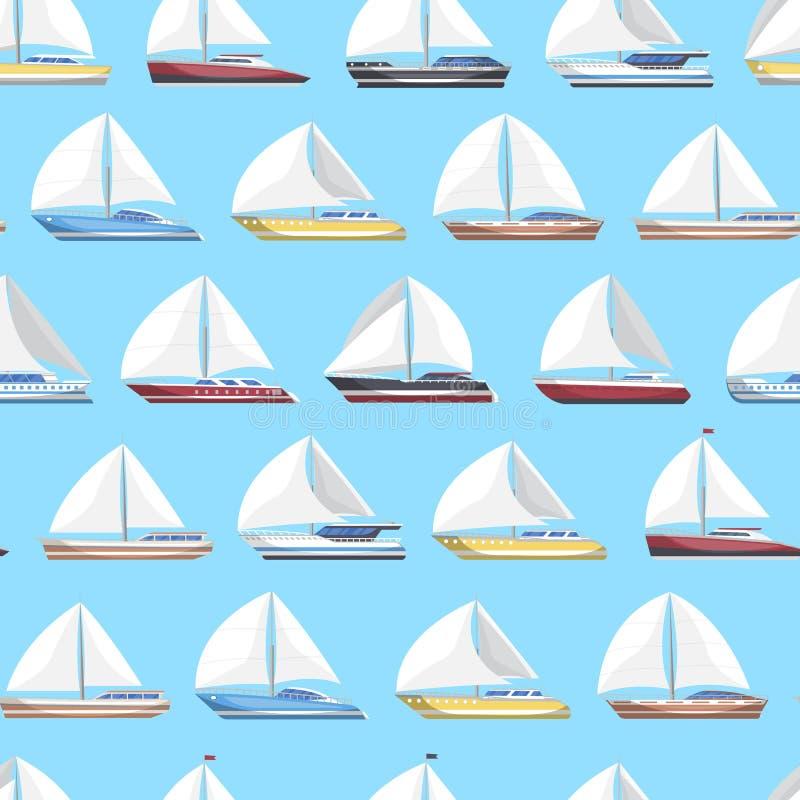 A vela do mar yachts o teste padrão sem emenda ilustração stock