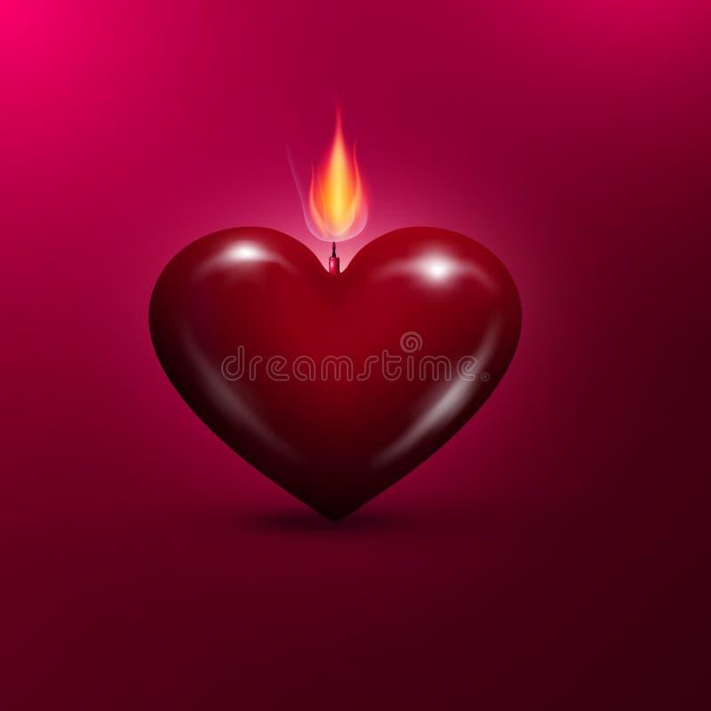 Vela en forma de corazón del Lit Fondo del día de tarjetas del día de San Valentín libre illustration