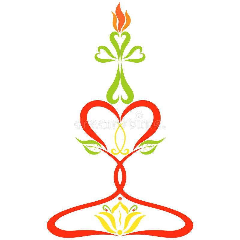 Vela en la forma de una cruz, una palmatoria hecha de ingenio de los corazones stock de ilustración
