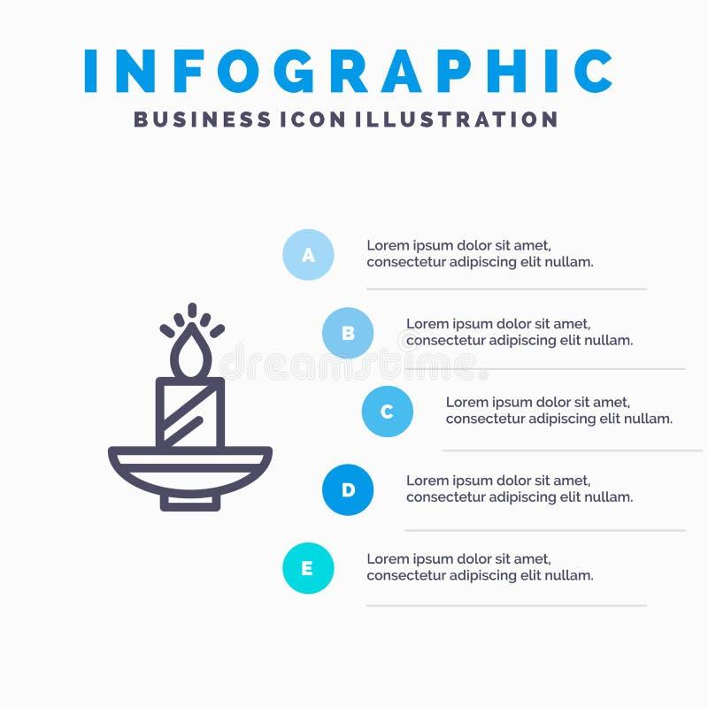 Vela, la Navidad, Diwali, Pascua, lámpara, luz, línea icono de la cera con el fondo del infographics de la presentación de 5 paso libre illustration