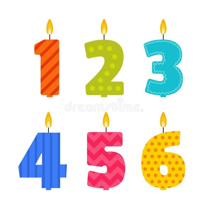 A vela lisa do aniversário do projeto do vetor ajustou-se na forma dos números ilustração stock