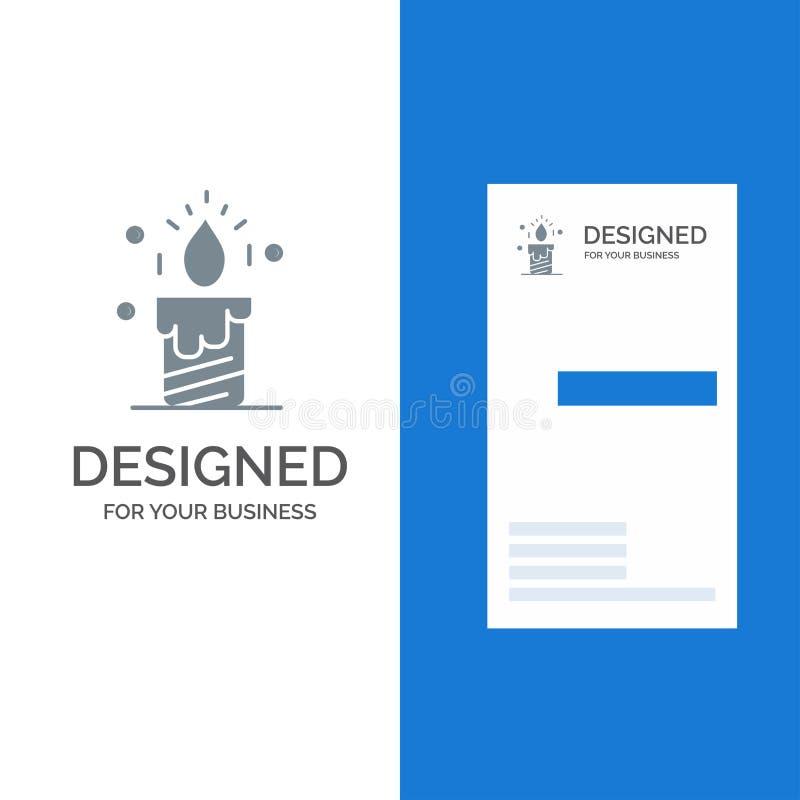 Vela, luz, casamento, amor Grey Logo Design e molde do cartão ilustração royalty free