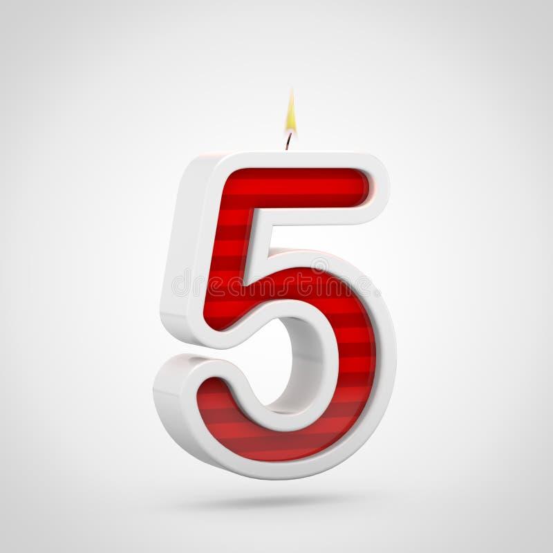 Vela número 5 del cumpleaños aislado en el fondo blanco ilustración del vector