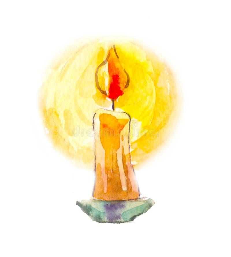 Vela na aquarela Imagem Mystical Adivinhação, o símbolo de ilustração royalty free