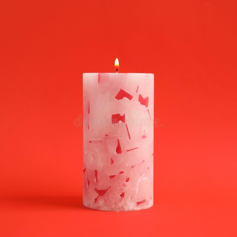 Vela scented da cera Alight fotografia de stock royalty free