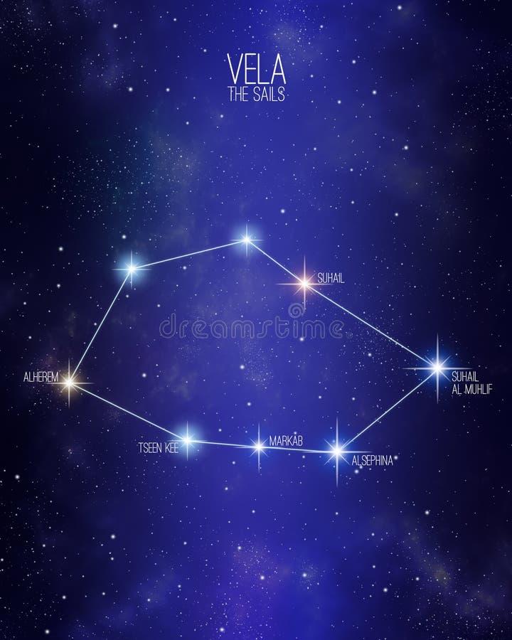 Vela seglar konstellation på en stjärnklar utrymmebakgrund royaltyfri illustrationer