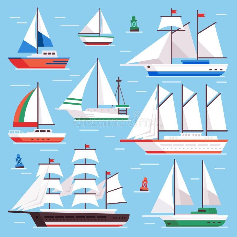 Vela via Barca a vela del trasporto per la corsa della barca a vela dell'acqua Insieme di lusso piano dell'illustrazione di vetto royalty illustrazione gratis