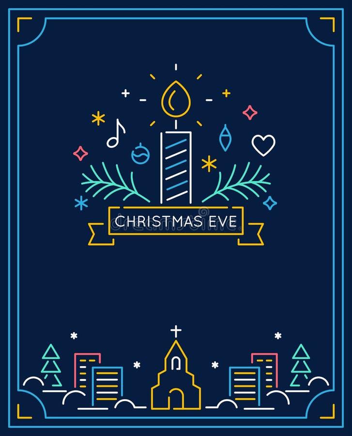 Vela y ornamentos, ciudad del invierno y esquema de la iglesia La Navidad Eve Candlelight Service Invitation Línea vector del art stock de ilustración