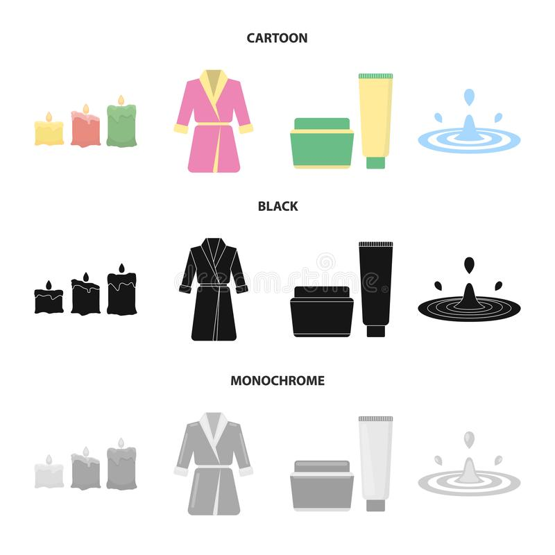 Velas ardentes coloridos, uma veste cor-de-rosa com uma correia amarela e um colar, um tubo com creme e um frasco com uma pomada ilustração royalty free