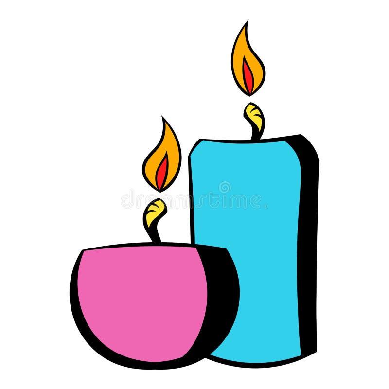 Velas ardentes do ícone, desenhos animados do ícone ilustração stock