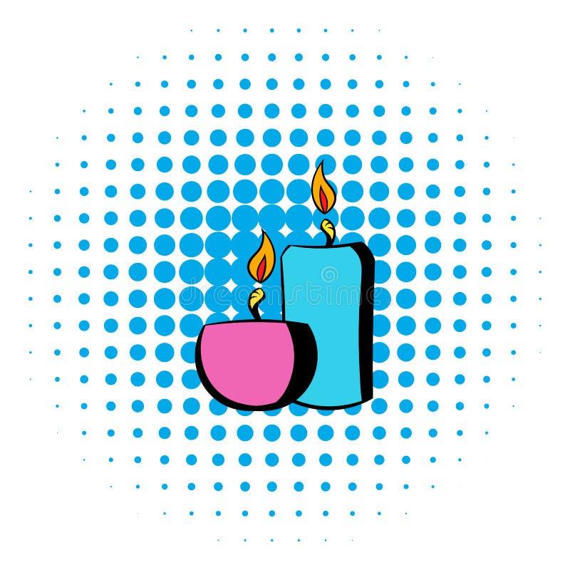 Velas ardentes do ícone, estilo da banda desenhada ilustração royalty free