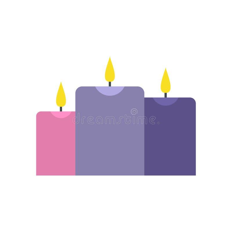 Velas ardentes do ícone liso ilustração royalty free