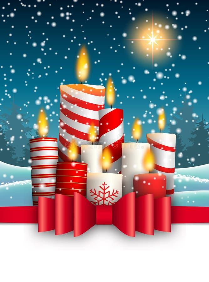 Velas ardentes do Natal na paisagem nevado do inverno ilustração stock
